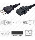 Italy CEI 23-50 Male to C19 Female 3 Meters 16 Amp 250 Volt H05VV-F 3x1.5 Black Power Cord