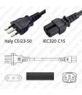 Cord Italy/C15 Black 2.5m / 8' 10a/250V H05RR-F3G1.0