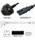 Power Cord Gulf States BS1363 Male Plug Angled Down to IEC60320 C7 Black 2.0 Meter / 6.5 Feet 2.5 Amp 250 Volt H05VV-F3G.75