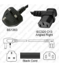 Power Cord Gulf States BS1363 Male Plug Angled Down to IEC60320 C13 Right 2.0 Meter / 6.5 Feet 10 Amp 250 Volt H05VV-F3G1.0