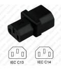 C14 Plug to C13 Connector Block Adapter - Black