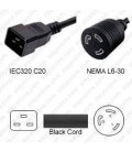C20 Plug Male to North America NEMA Locking L6-30 Female 0.3 Meter Plug Adapter Cord 12/3 SJT - Black