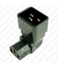 IEC 60320 C20 Plug to IEC 60320 C13 Up Angle Connector Block Adapter - Black