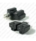North America NEMA 5-15 Plug to x2 NEMA 5-15/20 Connector Block Adapter - Black