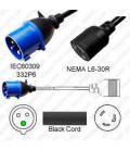 IEC 60309 332P6 Male Plug to Locking L6-30 Female Connector 0.3 Meter Plug Adapter Cord H05VV-F 3x4.0 - Black