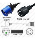 IEC 60309 332P6 Plug to North America NEMA Locking L6-20 Female 0.3 Meter Plug Adapter Cord H05VV-F 3x4.0 - Black