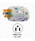 Hubbell HBL8215CT NEMA 5-15 Hospital Grade Male Plug - Clear