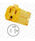 Hubbell HBL5969VY NEMA 5-15 Female Connector - Valise, Yellow