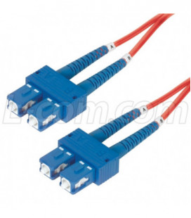 9/125, Single Mode Fiber Cable, Dual SC / Dual SC, Red 15.0m