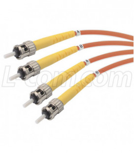 9/125, Single Mode Fiber Cable, Dual ST / Dual ST, Red 10.0m