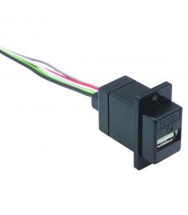"USB Type A Jack, 10"" Leads Black"