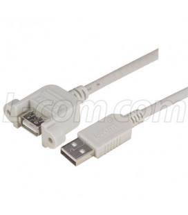 USB Type A Coupler, Female Bulkhead/Type A Male, 0.3M