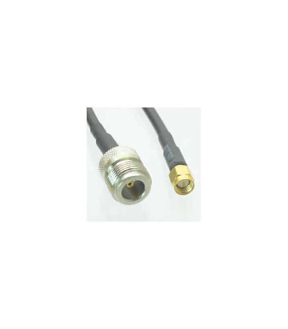 Pigtail de 50 cmt LMR195 con conectores N Hembra y SMA Macho